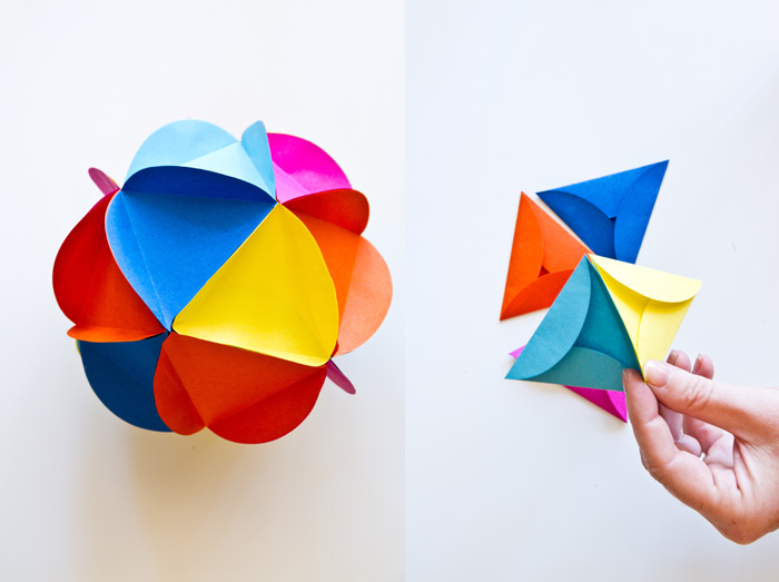 Bola de flores de papel de diferentes colores