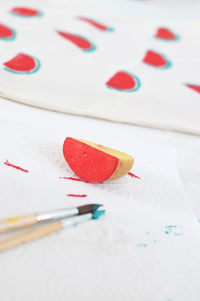 Bloesem kids crafts | DIY Watermelon print tote bag