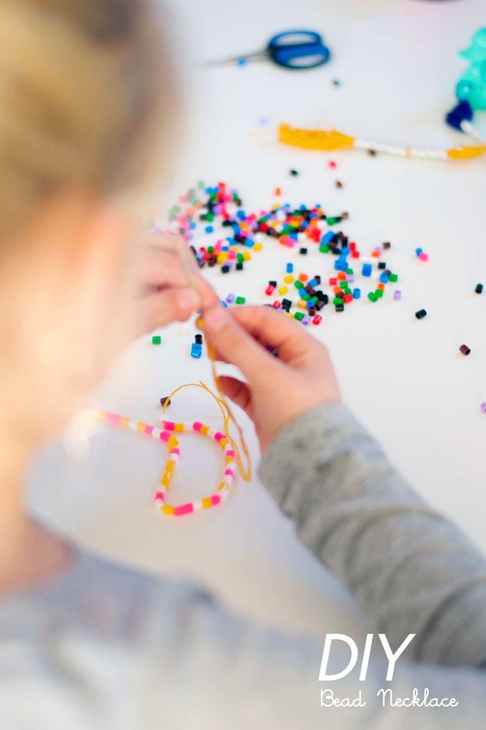 Bloesem Kids   DIY Hama bead and tassel necklace