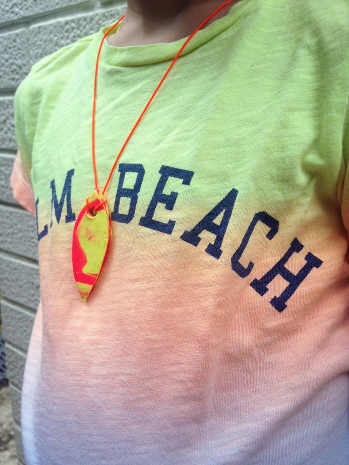 Bloesem kids craft   How to make a surf board necklace