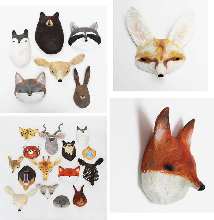 Bloesem kids   Paper mache masks by Abigail brown