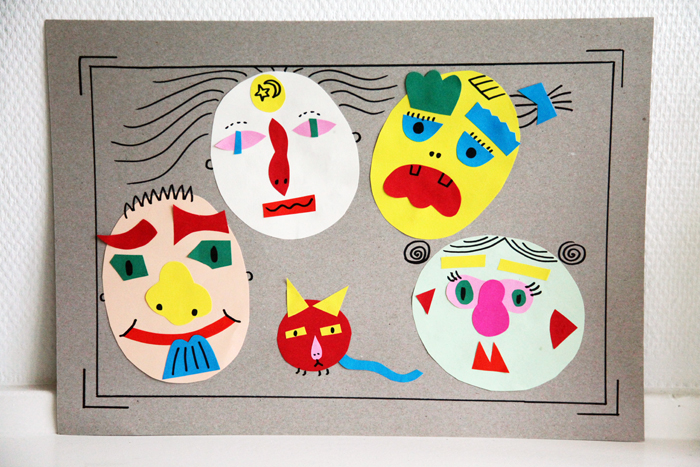 Bloesem kids craft | How to make a funny family portrait : Paper collage DIY