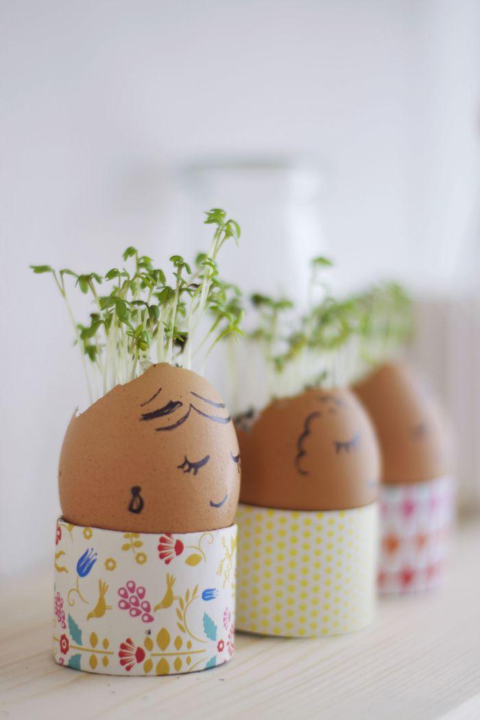 Bloesem kids crafts | Egg shell plants for Easter