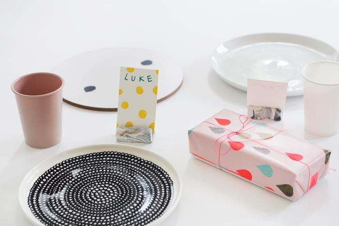 Bloesem kids craft   Marbled place card holder